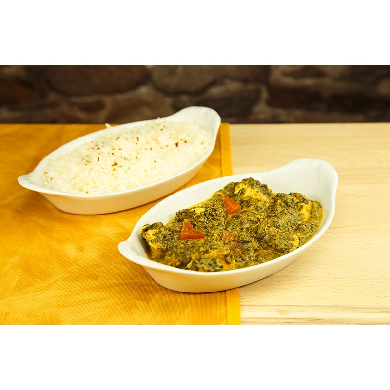 Poulet palak + riz (photo non contractuelle)