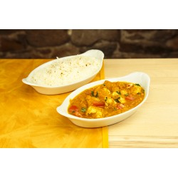 Poulet curry + riz (photo non contractuelle)