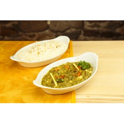 Palak panir + riz (photo non contractuelle)